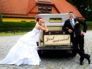 Brautpaar Foto Oldtimer